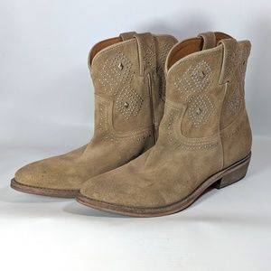 Frye Billy Studded Suede Western Booties size 9.5